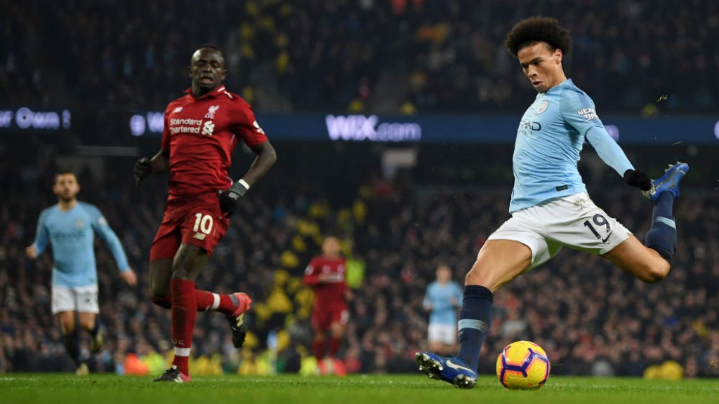 TRIGGER HAPPY : Leroy Sane fires home City's second goal v Liverpool