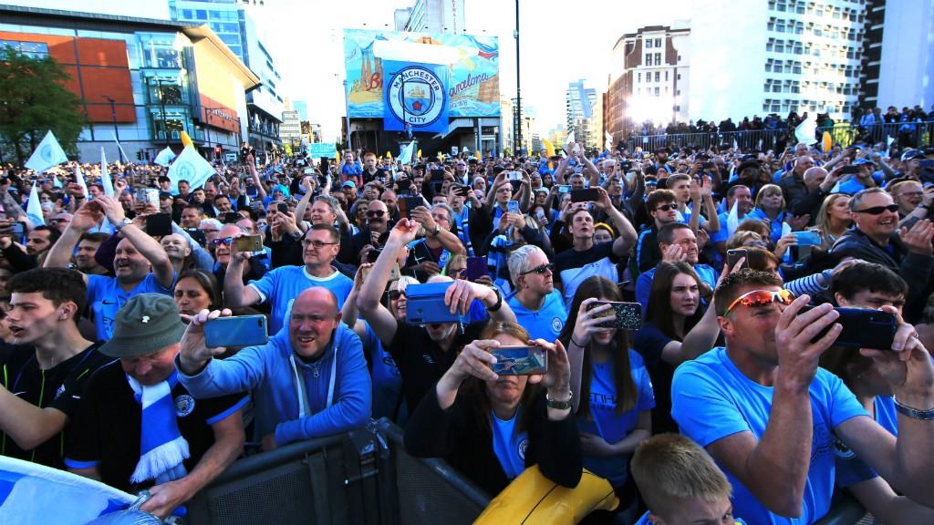 BLUE HORDES : City fans packed the city centre