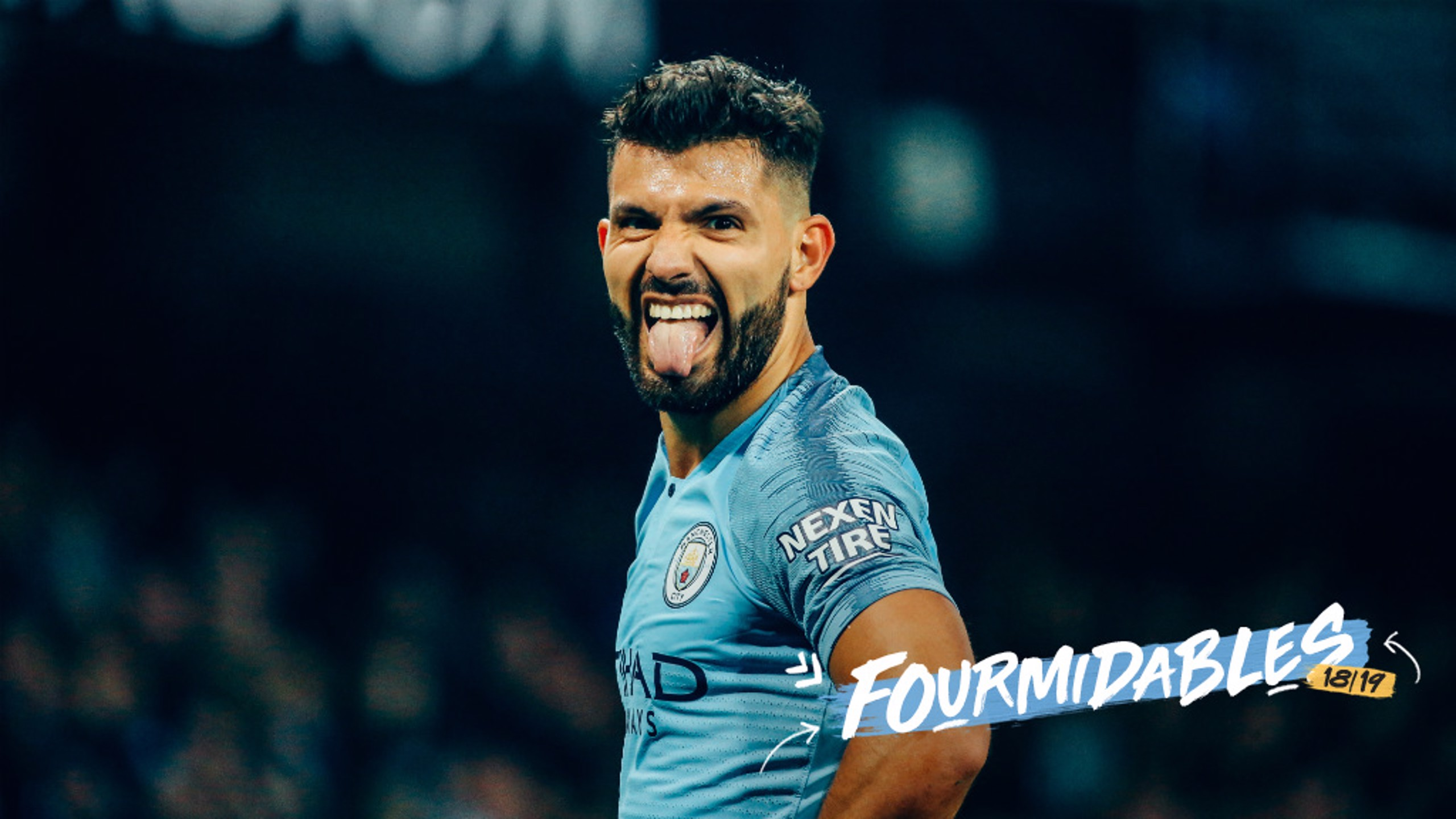 GOT YA: Sergio Aguero spots our camera.