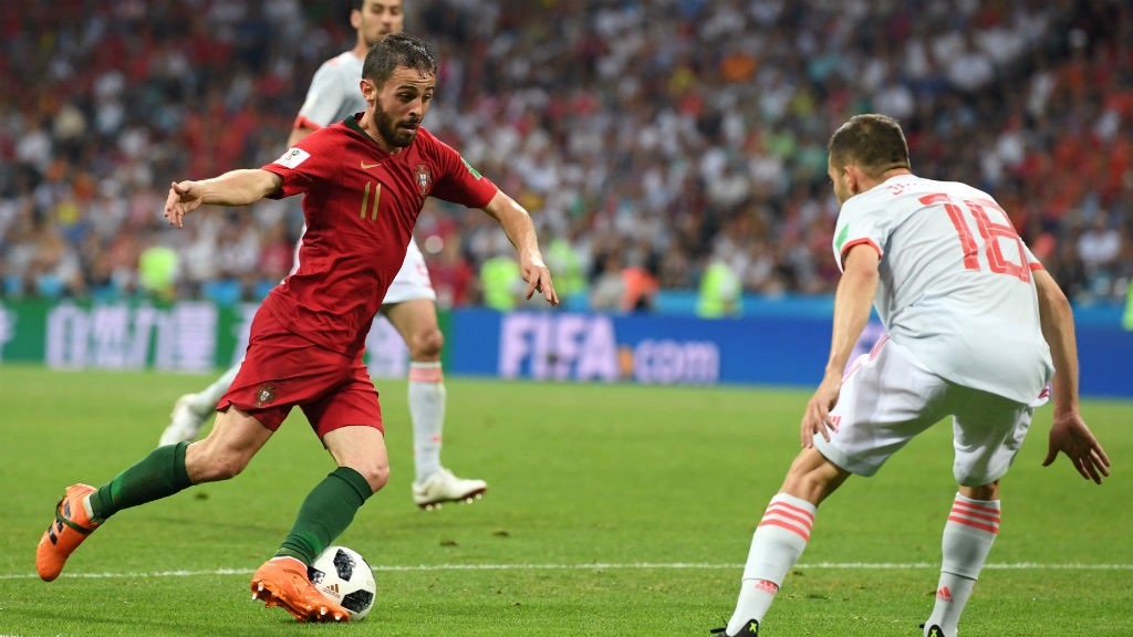 CLOSE CONTROL : Bernardo Silva in action against Spain