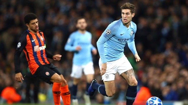 ROLLING STONES : City and England defender John Stones shepherd's the ball to safety
