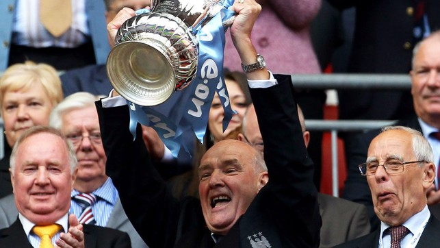 MAGIC MOMENT : Bernard lifts the FA Cup aloft after our memorable Wembley triumph over Stoke back in 2011