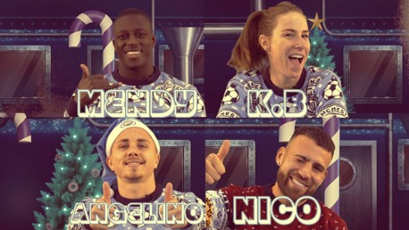 IT'S CHRISTMAS: Angelino, Bardsley, Mendy and Otamendi put their memory to the test in the name of festive fun.
