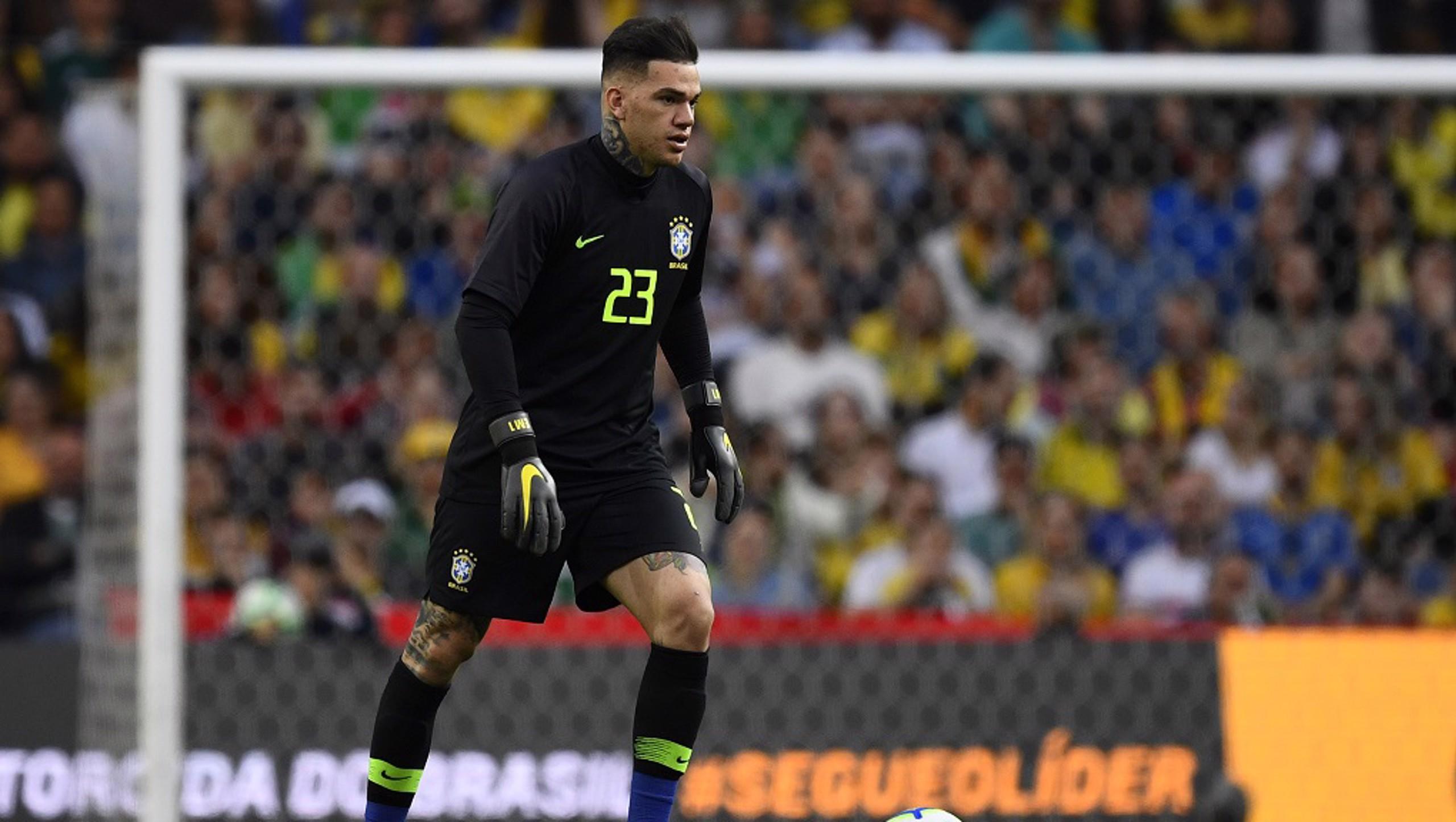 CLASS KEEPER: Ederson in goal for Brazil v Panama