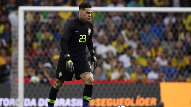 CLASS KEEPER : Ederson in goal for Brazil v Panama
