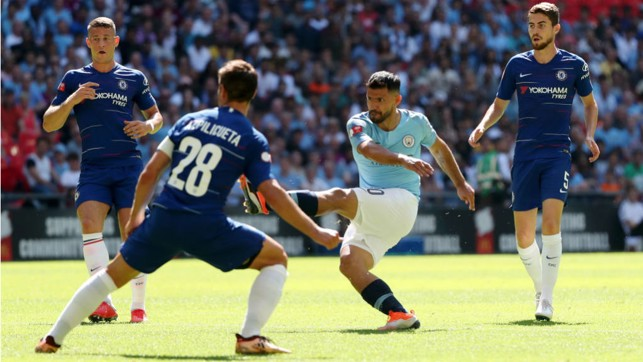 LANDMARK : Sergio Aguero fires home City's opener - and his 200th career goal for the Blues