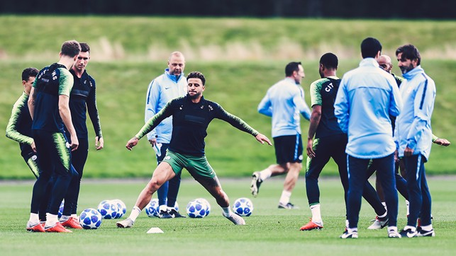 STRETCH : Kyle Walker prepares for our Champions League clash - plus, spot the new UCL footballs!
