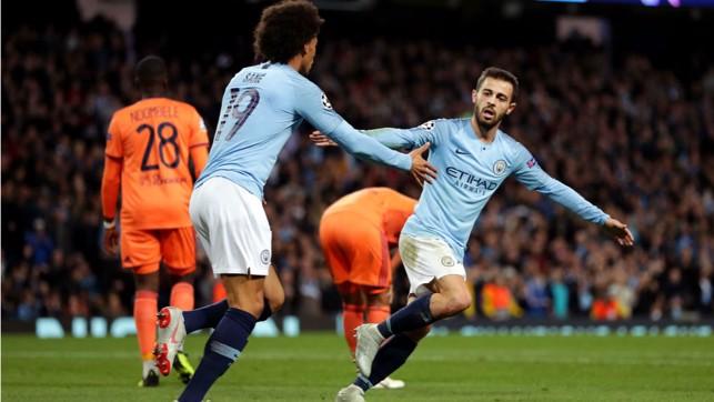 GAME ON : Bernardo Silva celebrates his goal with Leroy Sane