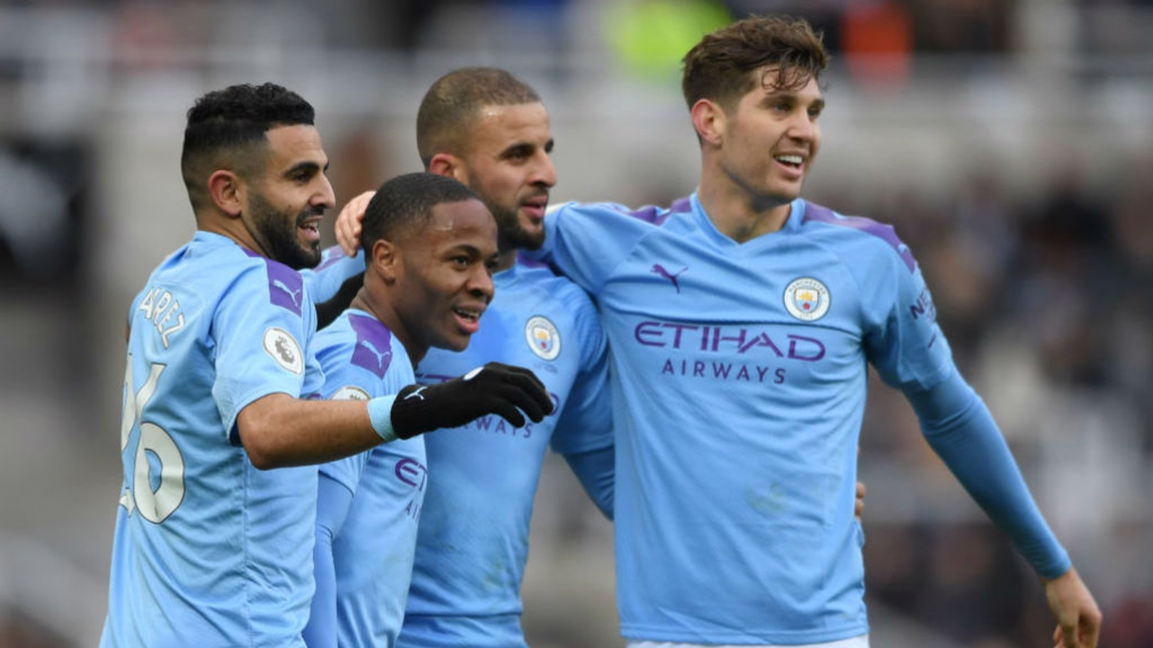 GET IN: The lads congratulate Raheem