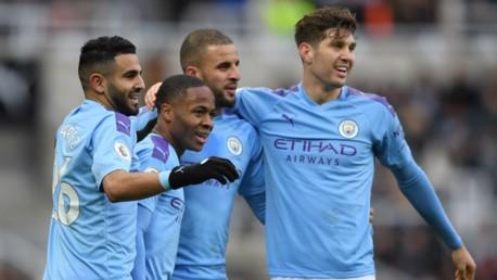 GET IN: The lads congratulate Raheem