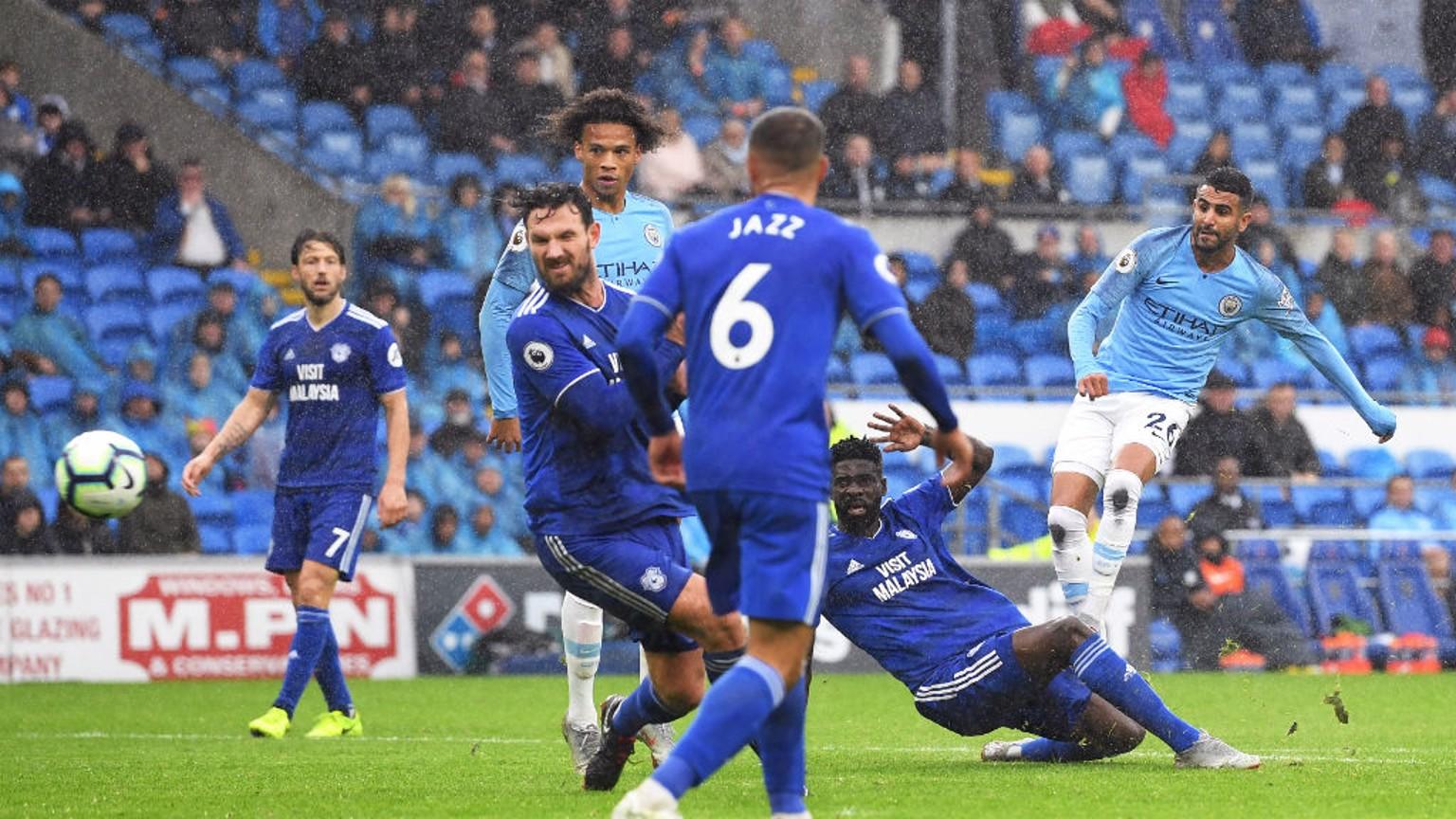 FIVE-STAR CITY: Riyad Mahrez scores his second and City's fifth