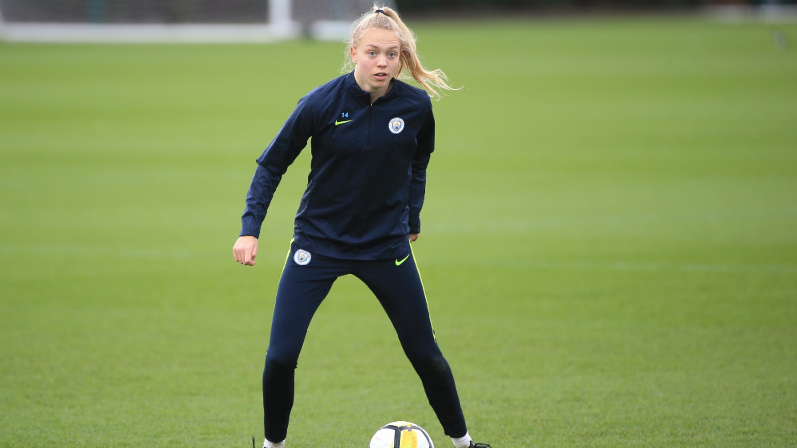 DEFENSIVE STEEL: Esme Morgan takes the ball in training.