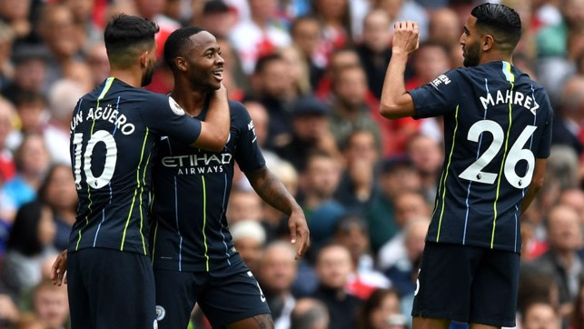 CELEBRATIONS : Sterling celebrates with Aguero and Mahrez after his thunderous strike takes us into the lead.