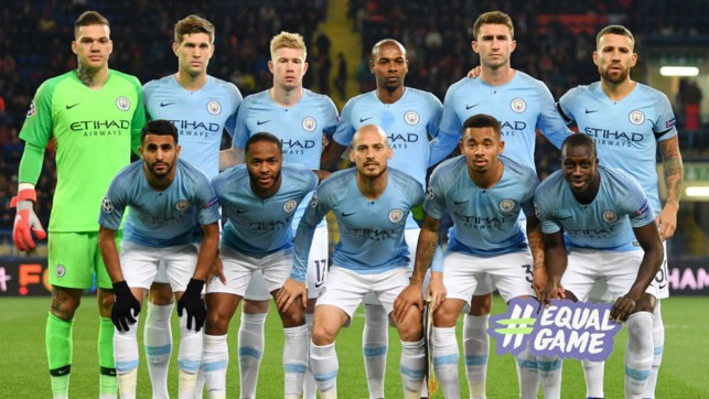 SQUAD GOALS : The City starting eleven line up prior to kick-off at the Metalist Stadium in Kharkiv