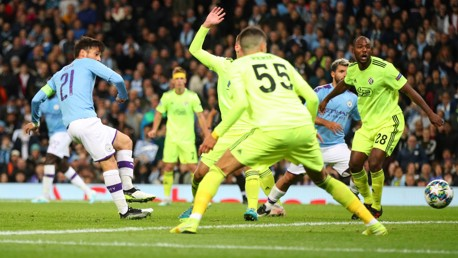ALMOST IN: David Silva narrowly misses from close range