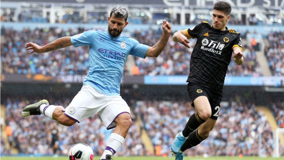 PROBING: Aguero looks to get the better of the Wolves defence.