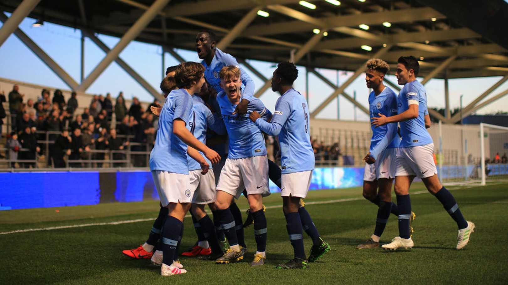 GOAL STRIKE: The City players celebrate after Nabil Touaizi's first half opener