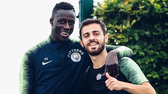 TEAM MATES: Benjamin Mendy and Bernardo pose for a picture!