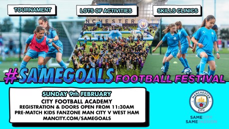 FESTIVAL FUN: As part of our #SameGoals campaign, we are hosting the #SameGoals Football Festival ahead of our men's Premier League fixture against West Ham on Sunday 9th February!