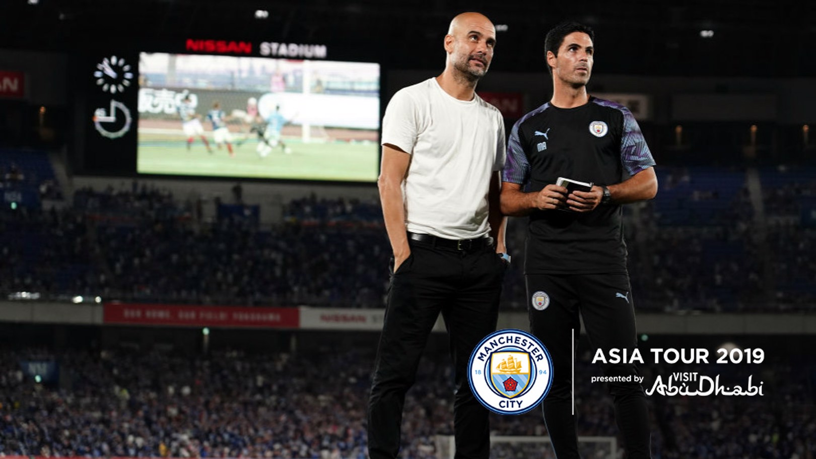 IN THOUGHT: Pep Guardiola and Mikel Arteta in Japan.