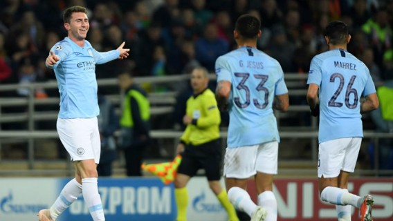 LAPPING IT UP!! Aymeric Laporte is all smiles after his goal