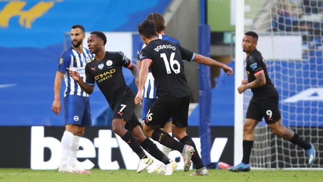 GET IN: Raheem wheels away after getting on the score sheet