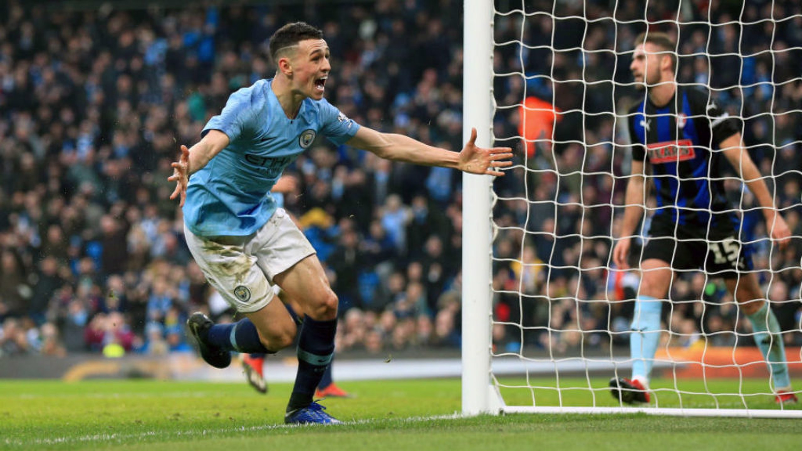 MAGIC MOMENT: Phil Foden celebrates his first senior goal at the Etihad