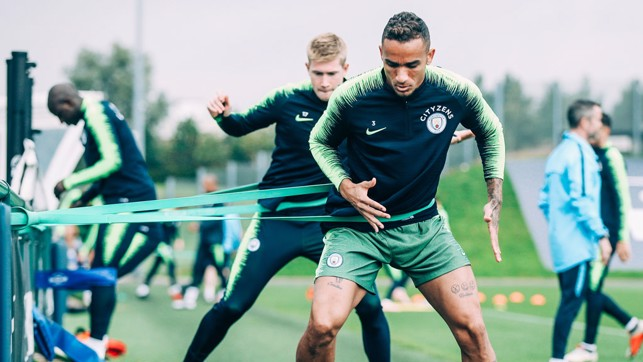 STRETCH : Danilo tunes up for Sunday's game.