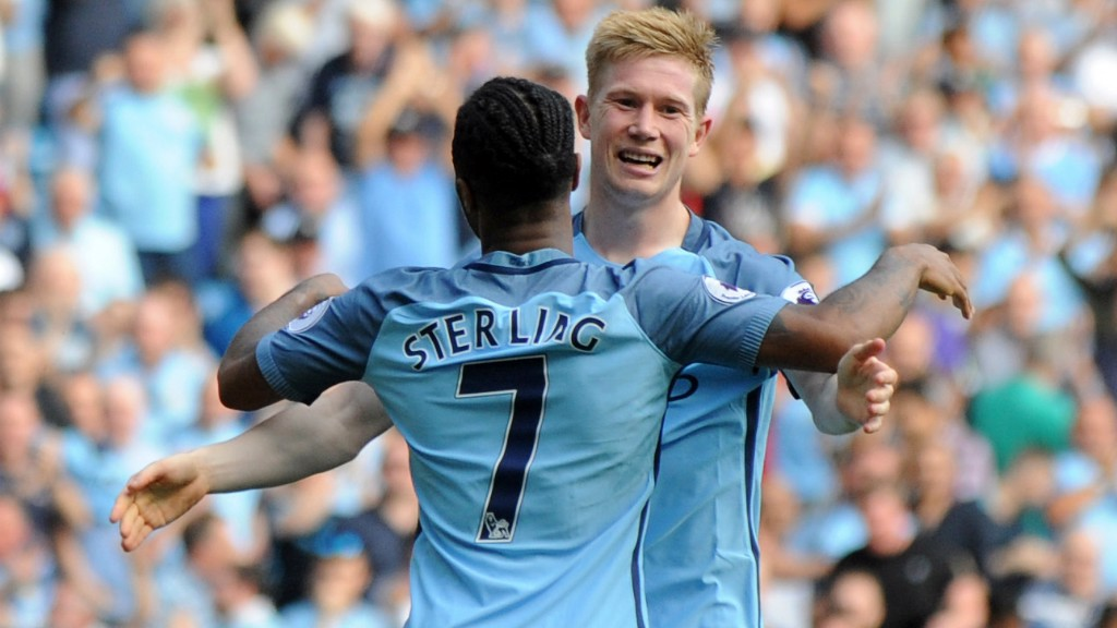 ALL SMILES : KDB was delighted with Raheem putting City 3-0 up against Bournemouth