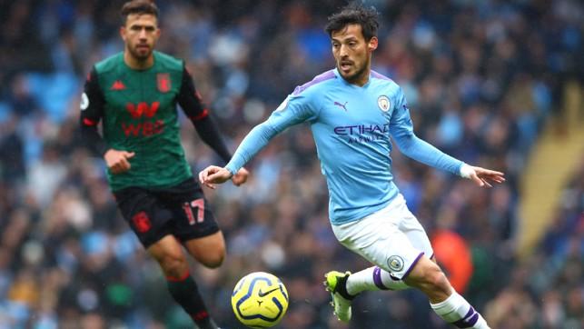 SILVA SERVICE : David Silva looks to unlock the Villa defence