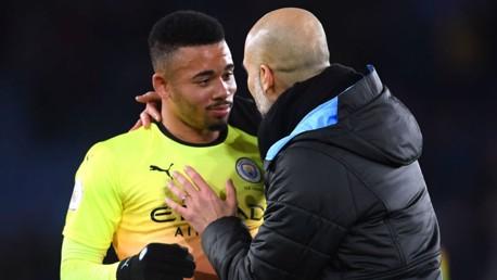 SUDDEN IMPACT: Pep Guardiola salutes Gabriel Jesus at the final whistle