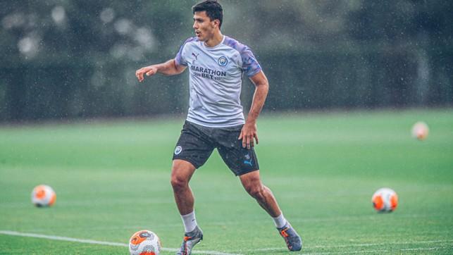 SHOWER POWER: Rodrigo moves through the gears