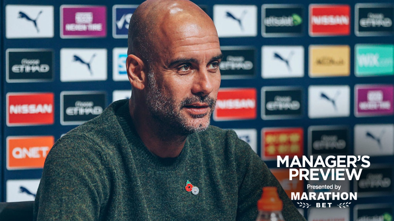 THE BOSS: Pep Guardiola speaks to journalists before City's game against Aston Villa.
