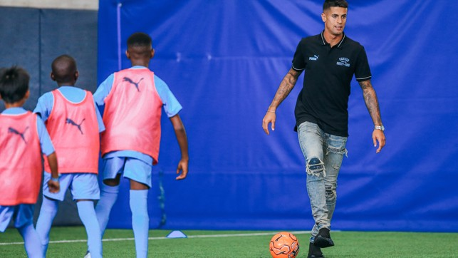 BOY BLUES : Our new signing took part in a City in the Community session at the City Football Academy