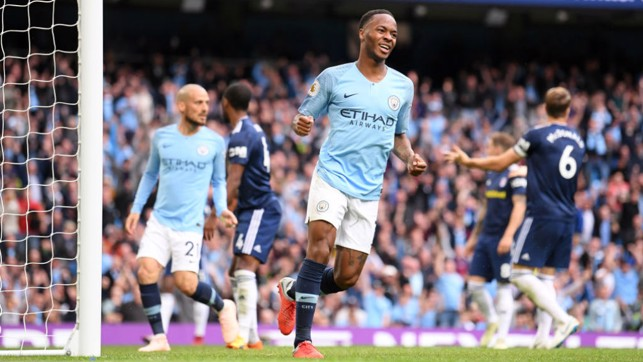 COOL AS YOU LIKE : Sterling is delighted with his goal