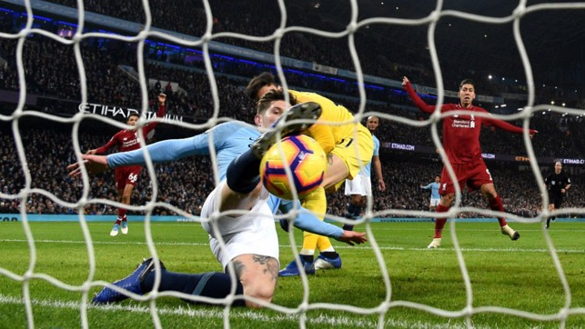NICK OF TIME : John Stones stops Liverpool scoring by the narrowest of margins