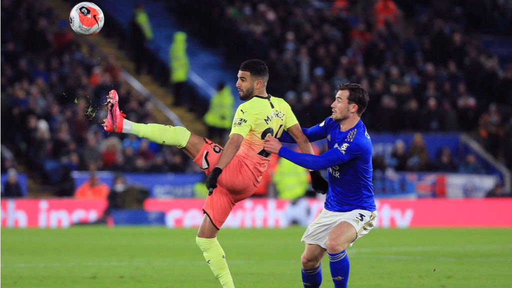 UP AND AT 'EM: Riyad Mahrez takes on former team-mate Ben Chilwell