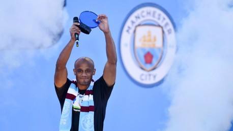 HERE'S TO YOU: Vincent Kompany celebrates his goal of the season award