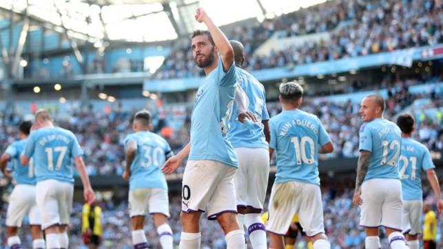 PROUD AS PUNCH : Bernardo acknowledges the City fans