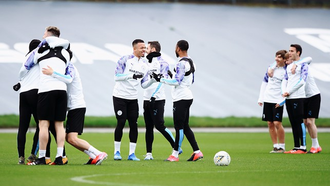UP FOR THE CUP : The players were in buoyant spirits ahead of our FA Cup clash with Fulham