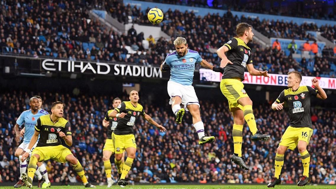 EFFORT: Sergio Aguero powers a header at goal.