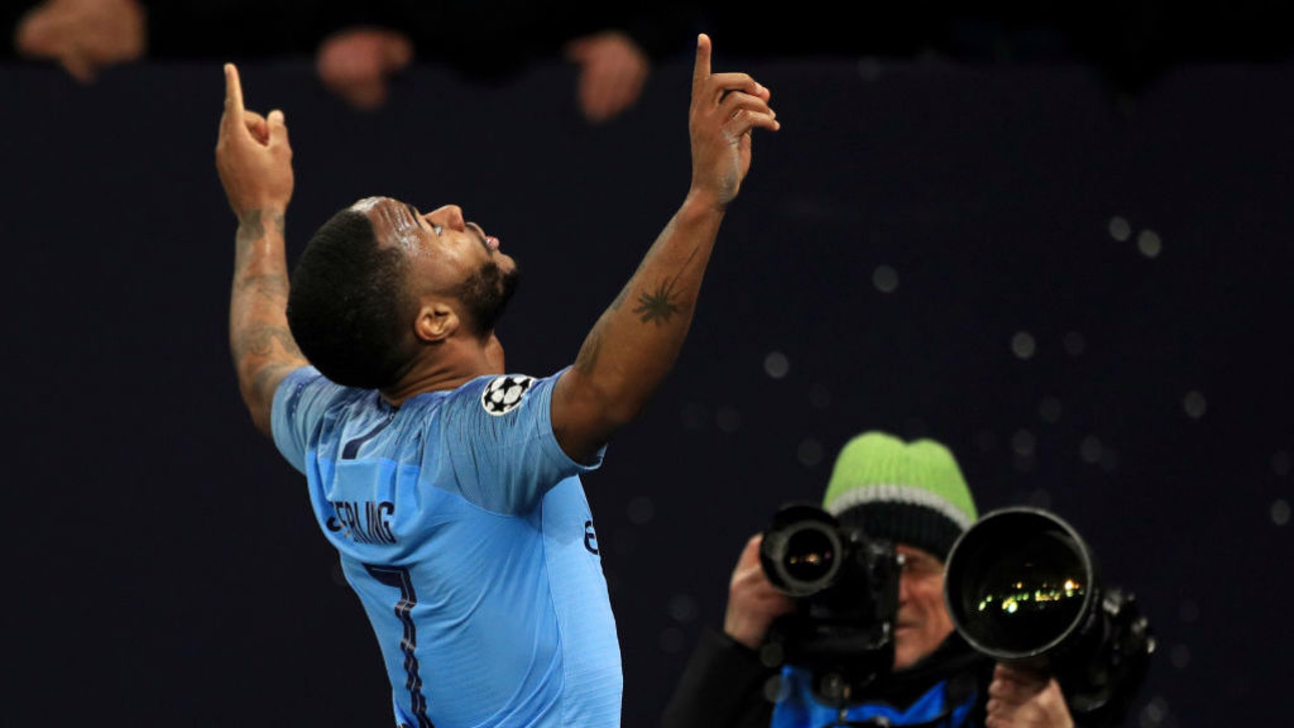 Sterling celebrates his dramatic winner!