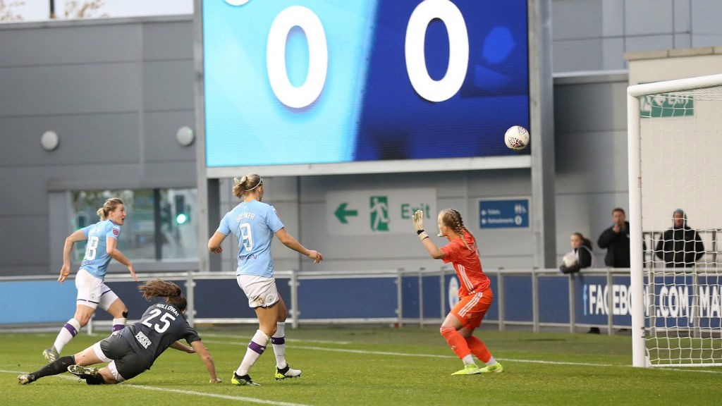 FIRST STRIKE : Ellen White fires home her first goal in City colours