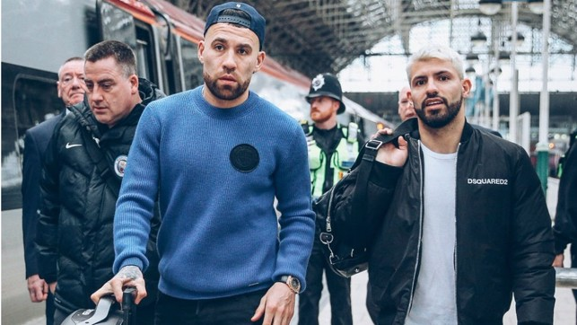 TWO'S COMPANY : Argentine duo Nicolas Otamendi and Sergio Aguero will be aiming for more Wembley success