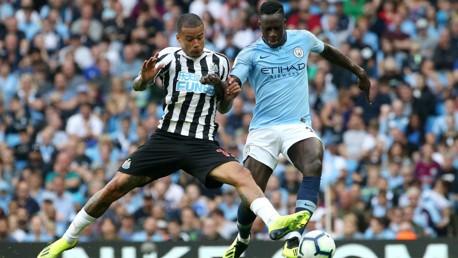 ACTION SHOT: Benjamin Mendy presses on after Newcastle's equaliser.