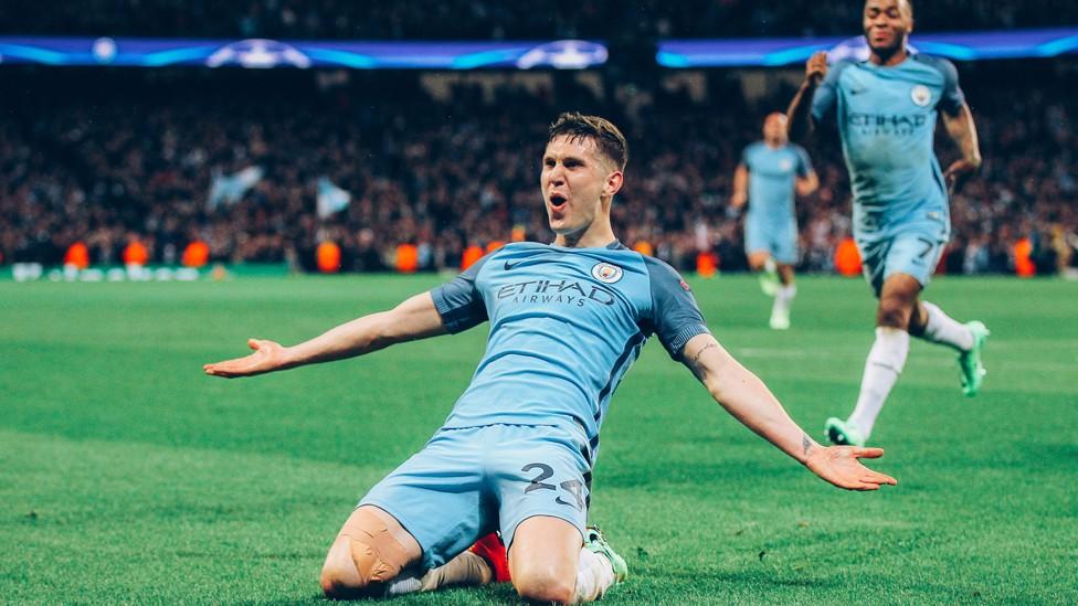 GOOOLLL: Bek tengah kami membawa City unggul 4-3 dalam kemenangan mendebarkan di Liga Champions atas Monaco pada Februari 2017.