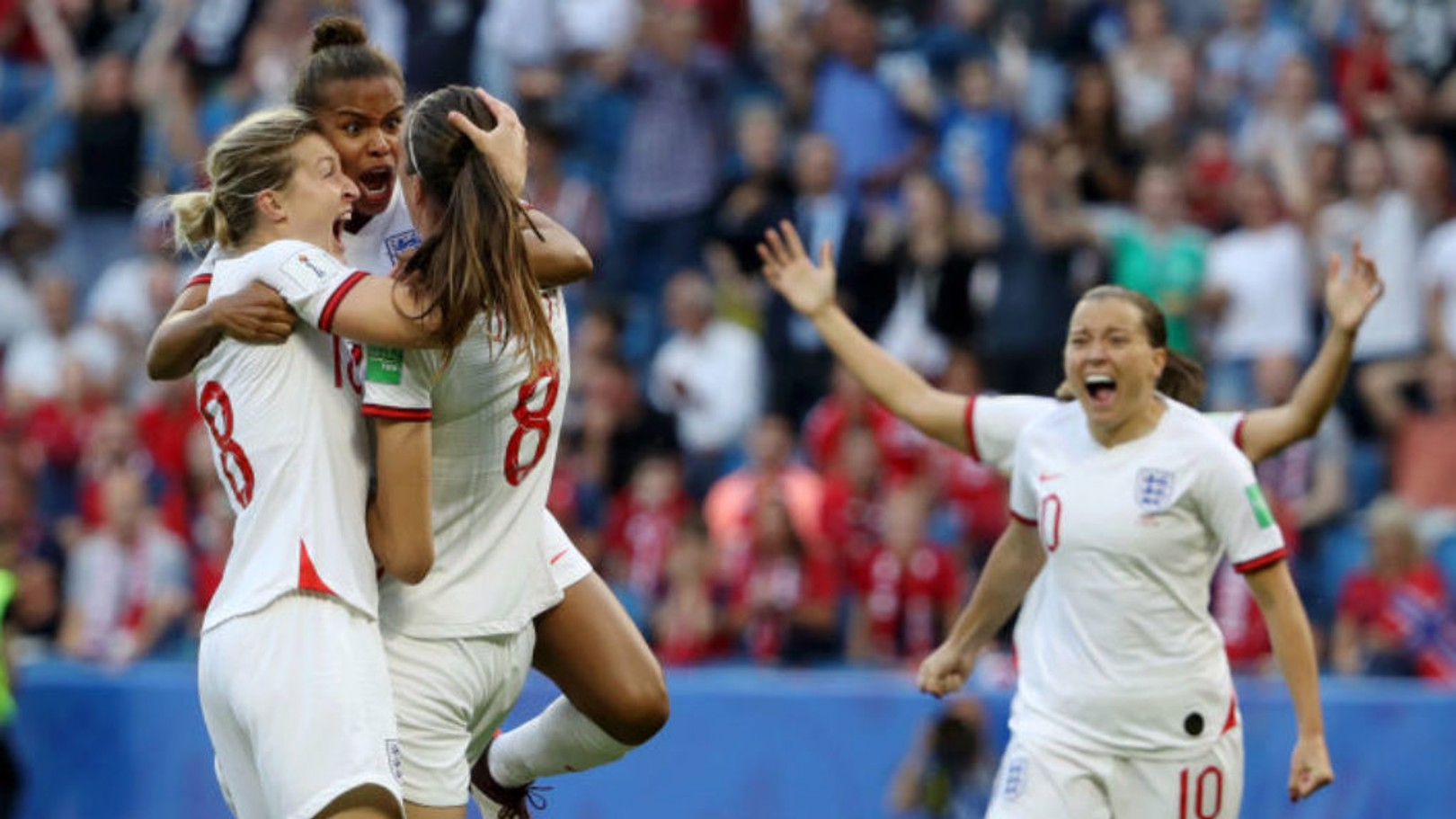 ROAR POWER: Nikita Parris and Ellen White salute Jill Scott after the City midfielder's sensational early strike for England