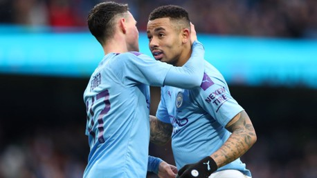 YOUNG STARS: Foden celebrates with Jesus.