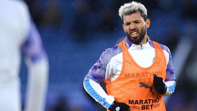 WARMING TO THE TASK: Sergio Aguero goes through his pre-match paces