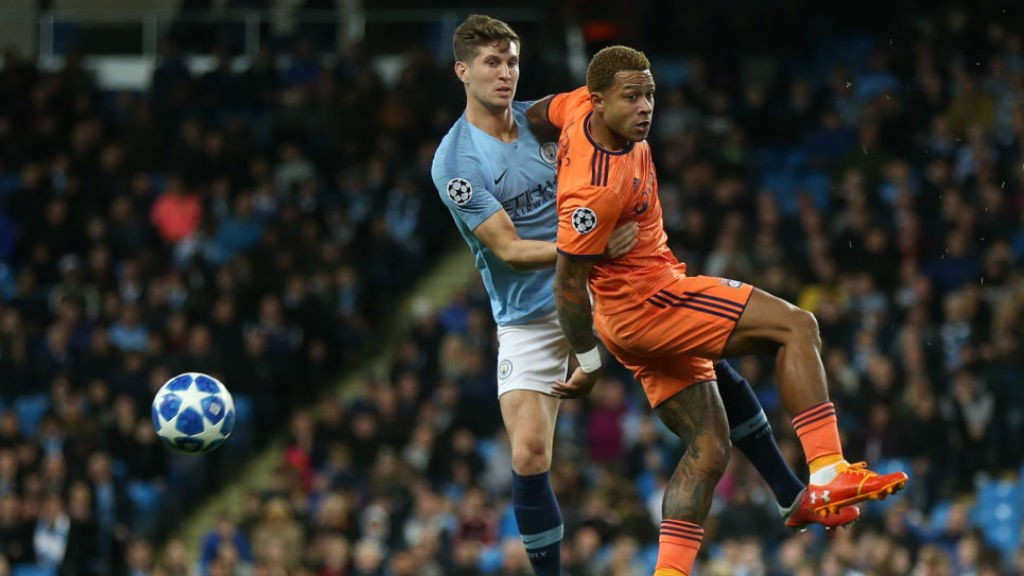 STONES : In action against Lyon